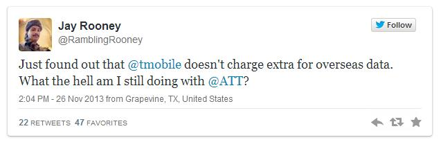 Twitter exchange between AT&T and T-Mobile #1